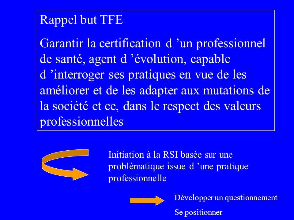 Rappel but TFE Garantir la certification d un professionnel de santé, agent d évolution, capable d interroger ses pratiques en vue de les améliorer et