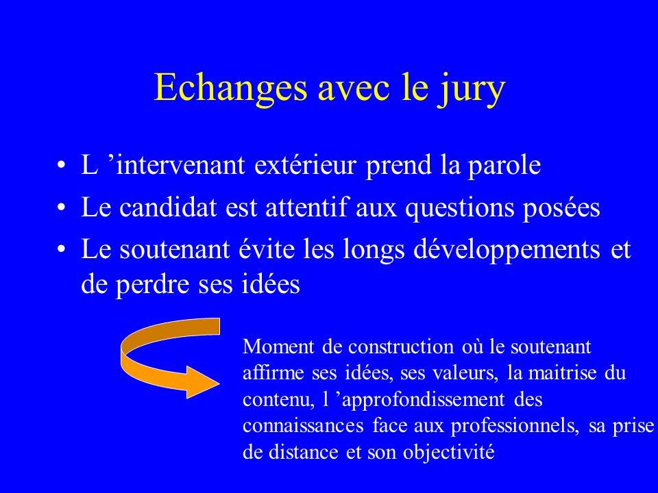 Echanges avec le jury L intervenant extérieur prend la parole Le candidat est attentif aux questions posées Le soutenant évite les longs développement
