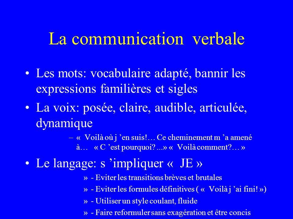 La communication verbale Les mots: vocabulaire adapté, bannir les expressions familières et sigles La voix: posée, claire, audible, articulée, dynamiq
