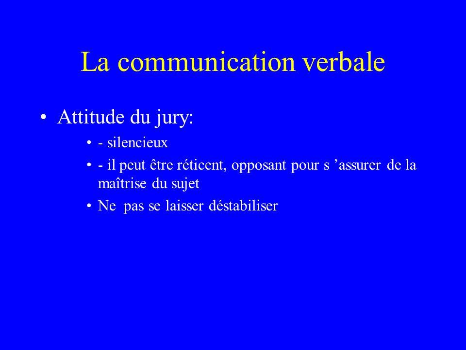 La communication verbale Attitude du jury: - silencieux - il peut être réticent, opposant pour s assurer de la maîtrise du sujet Ne pas se laisser dés
