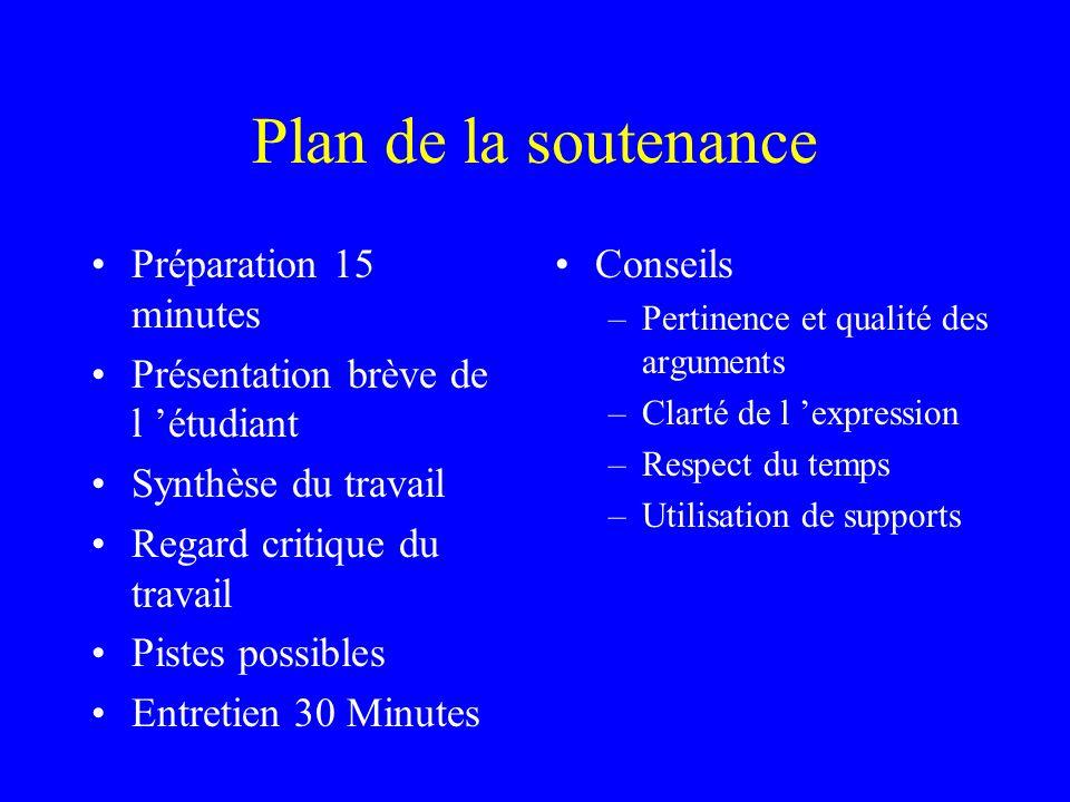 Plan de la soutenance Préparation 15 minutes Présentation brève de l étudiant Synthèse du travail Regard critique du travail Pistes possibles Entretie