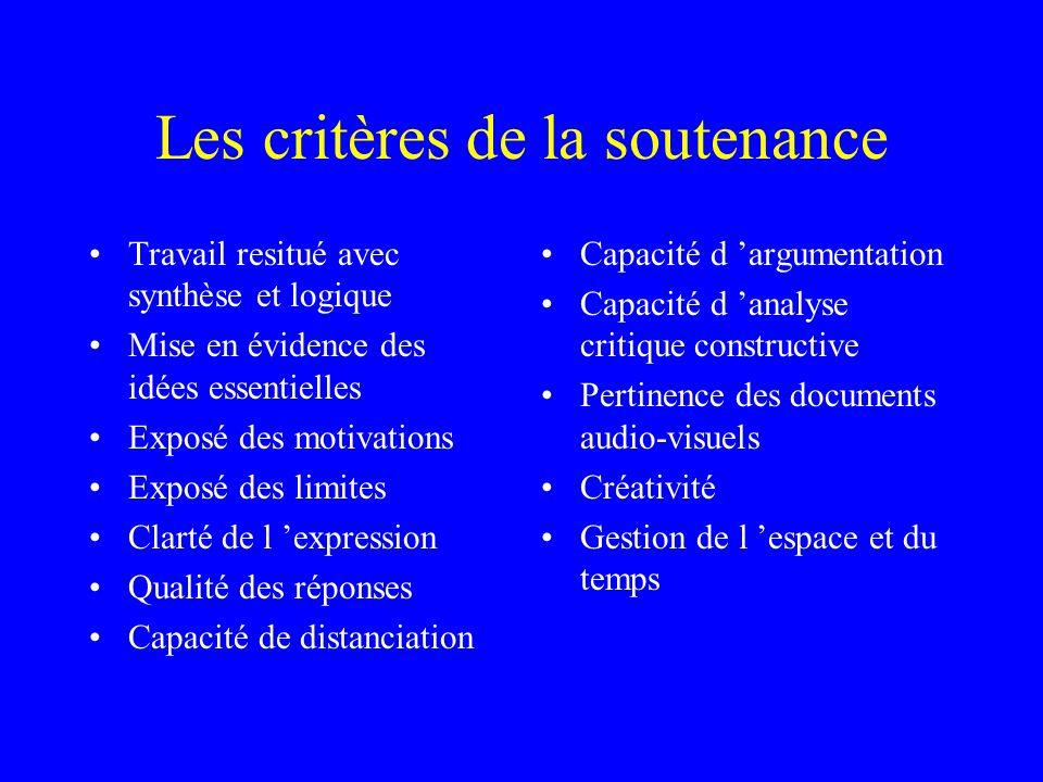 Les critères de la soutenance Travail resitué avec synthèse et logique Mise en évidence des idées essentielles Exposé des motivations Exposé des limit