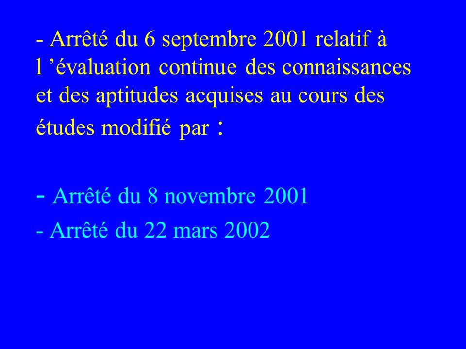 - Arrêté du 6 septembre 2001 relatif à l évaluation continue des connaissances et des aptitudes acquises au cours des études modifié par : - Arrêté du