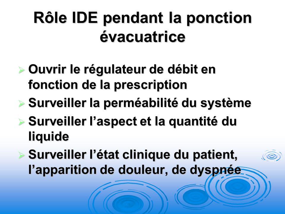 Rôle IDE pendant la ponction évacuatrice Ouvrir le régulateur de débit en fonction de la prescription Ouvrir le régulateur de débit en fonction de la