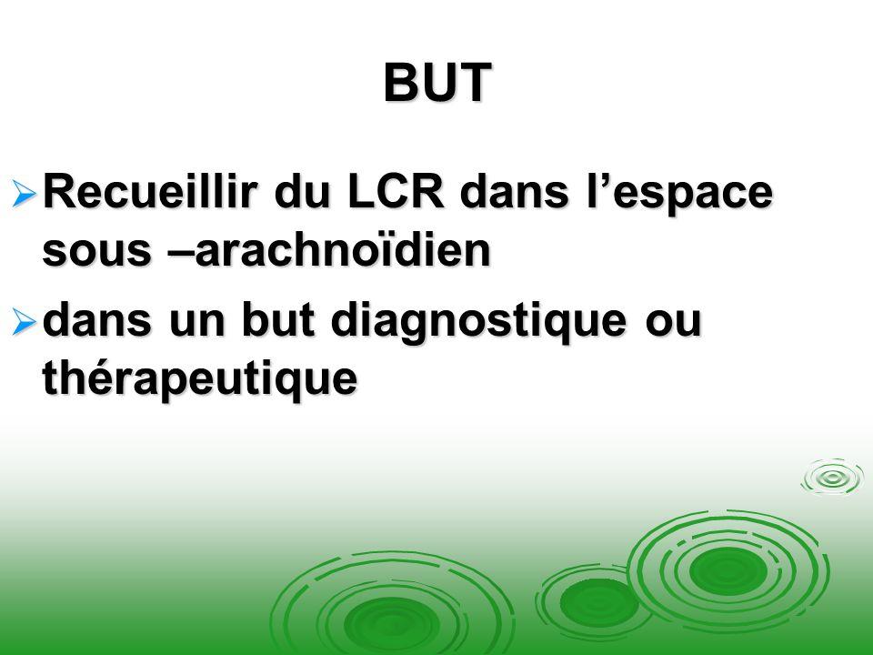 BUT Recueillir du LCR dans lespace sous –arachnoïdien Recueillir du LCR dans lespace sous –arachnoïdien dans un but diagnostique ou thérapeutique dans