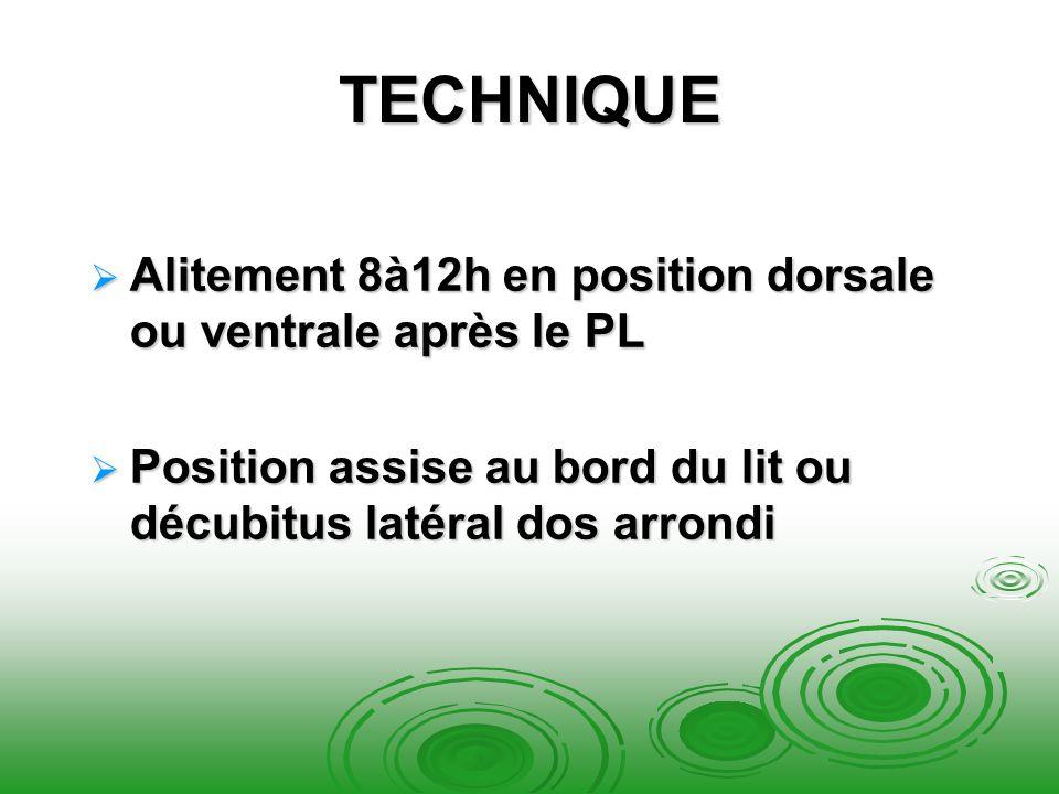 TECHNIQUE Alitement 8à12h en position dorsale ou ventrale après le PL Alitement 8à12h en position dorsale ou ventrale après le PL Position assise au b