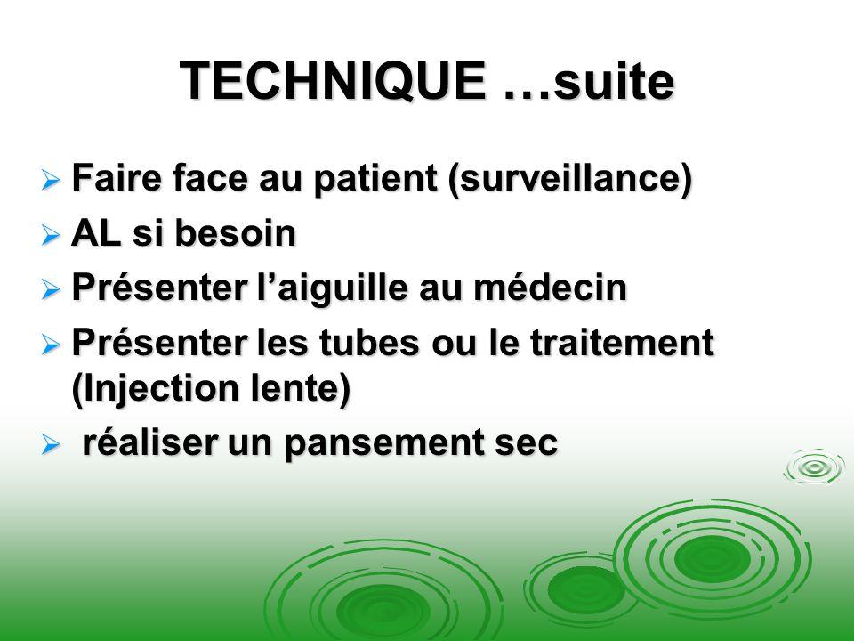 TECHNIQUE …suite Faire face au patient (surveillance) Faire face au patient (surveillance) AL si besoin AL si besoin Présenter laiguille au médecin Pr