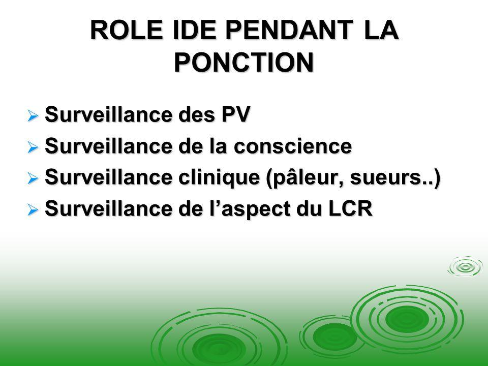 ROLE IDE PENDANT LA PONCTION Surveillance des PV Surveillance des PV Surveillance de la conscience Surveillance de la conscience Surveillance clinique