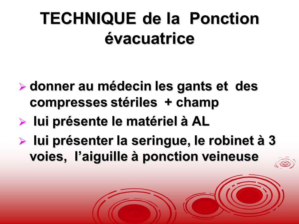 TECHNIQUE de la Ponction évacuatrice donner au médecin les gants et des compresses stériles + champ donner au médecin les gants et des compresses stér