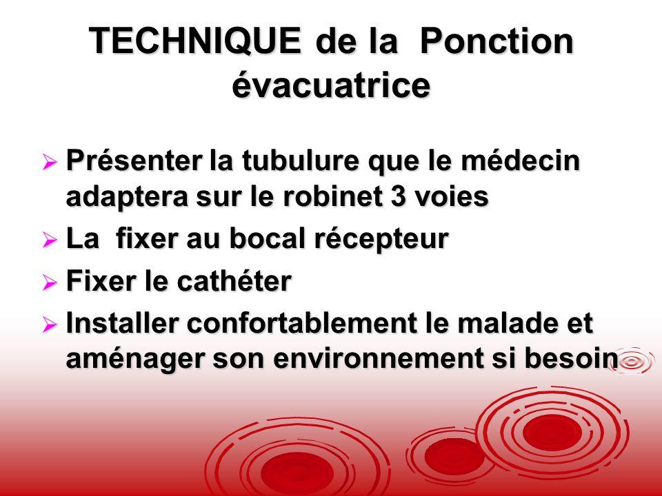 TECHNIQUE de la Ponction évacuatrice Présenter la tubulure que le médecin adaptera sur le robinet 3 voies Présenter la tubulure que le médecin adapter