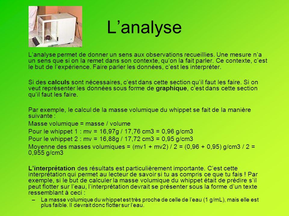 Lanalyse Lanalyse permet de donner un sens aux observations recueillies.