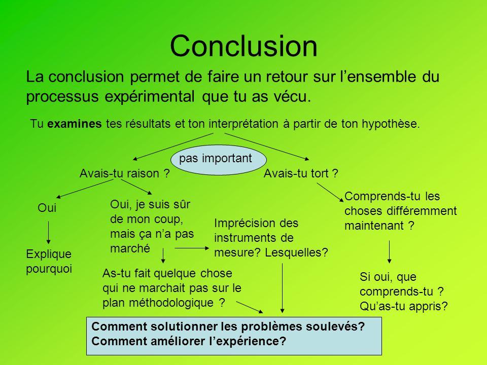 Conclusion La conclusion permet de faire un retour sur lensemble du processus expérimental que tu as vécu.