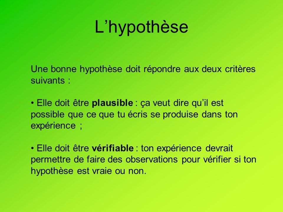 Lhypothèse Une bonne hypothèse doit répondre aux deux critères suivants : Elle doit être plausible : ça veut dire quil est possible que ce que tu écris se produise dans ton expérience ; Elle doit être vérifiable : ton expérience devrait permettre de faire des observations pour vérifier si ton hypothèse est vraie ou non.