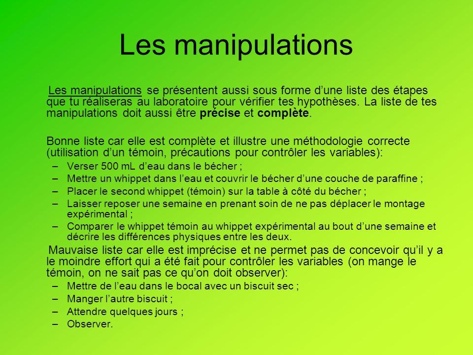 Les manipulations Les manipulations se présentent aussi sous forme dune liste des étapes que tu réaliseras au laboratoire pour vérifier tes hypothèses.