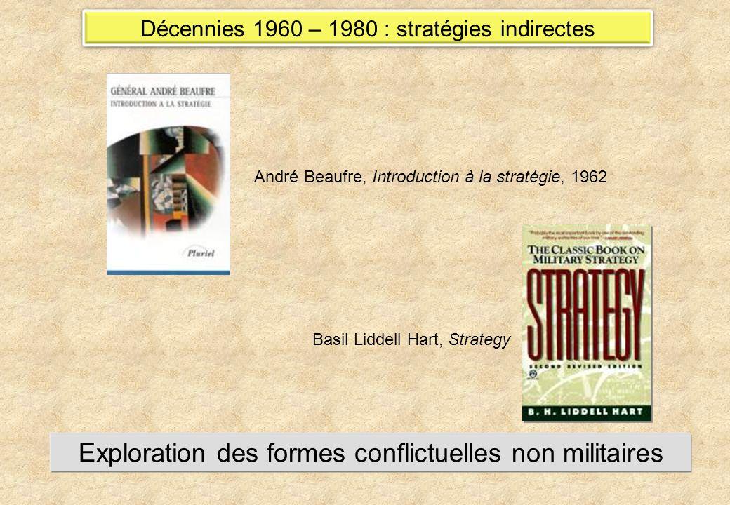 Décennies 1960 – 1980 : stratégies indirectes André Beaufre, Introduction à la stratégie, 1962 Basil Liddell Hart, Strategy Exploration des formes conflictuelles non militaires