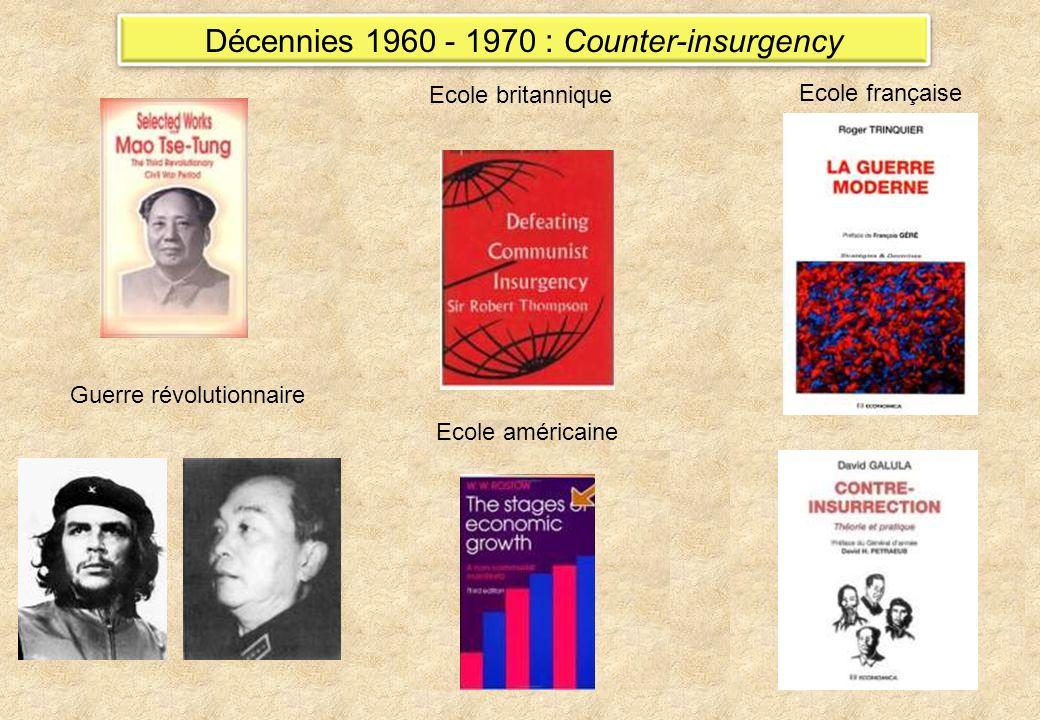 Décennies 1960 - 1970 : Counter-insurgency Guerre révolutionnaire Ecole française Ecole britannique Ecole américaine