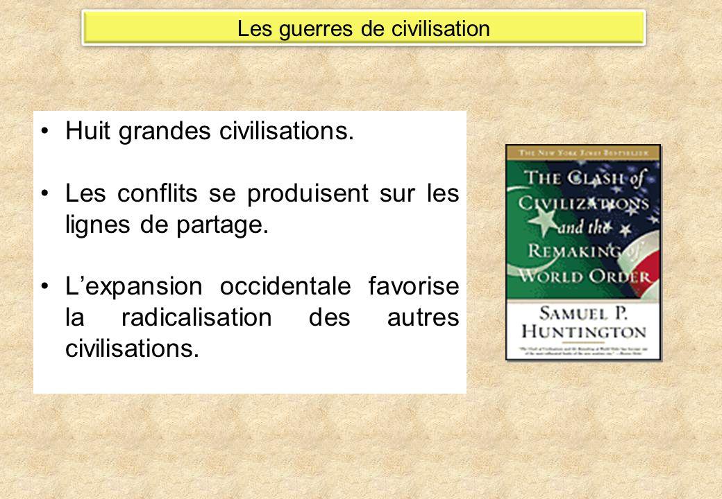Huit grandes civilisations. Les conflits se produisent sur les lignes de partage. Lexpansion occidentale favorise la radicalisation des autres civilis