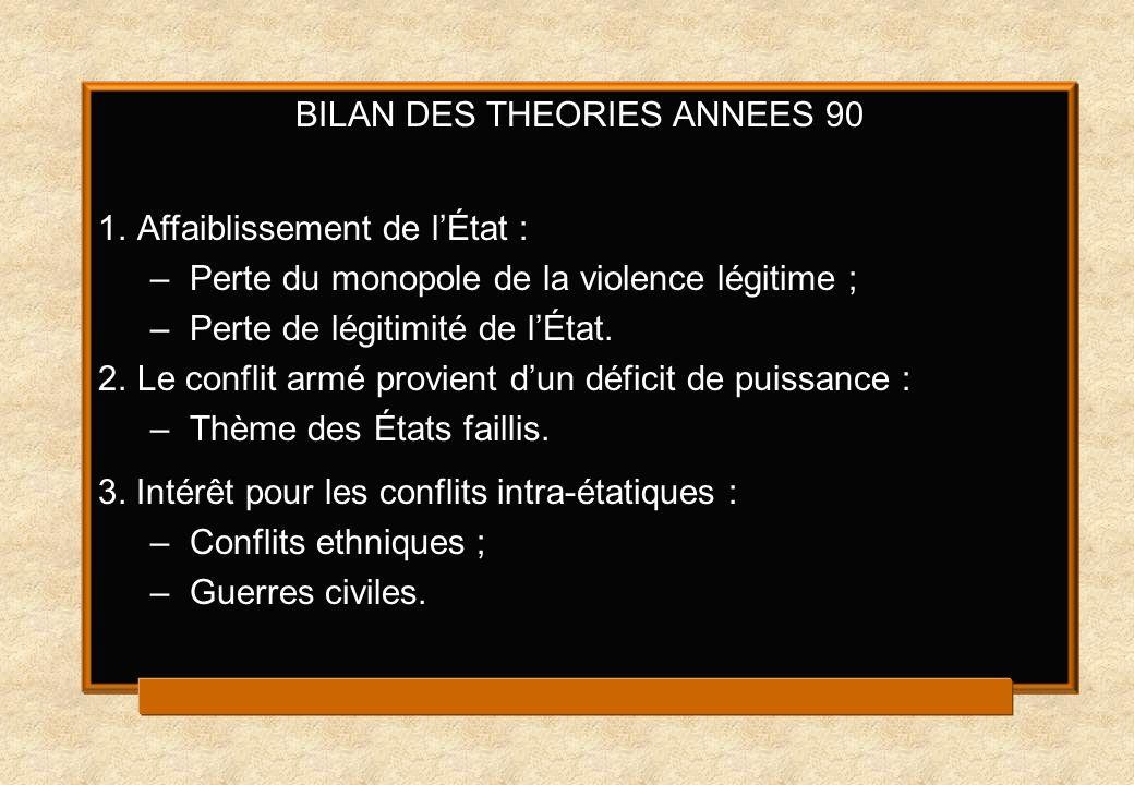 BILAN DES THEORIES ANNEES 90 1.Affaiblissement de lÉtat : –Perte du monopole de la violence légitime ; –Perte de légitimité de lÉtat.