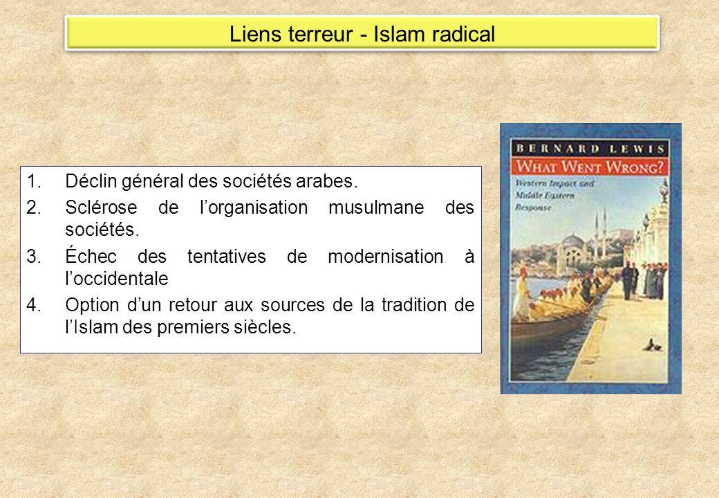 Liens terreur - Islam radical 1.Déclin général des sociétés arabes. 2.Sclérose de lorganisation musulmane des sociétés. 3.Échec des tentatives de mode