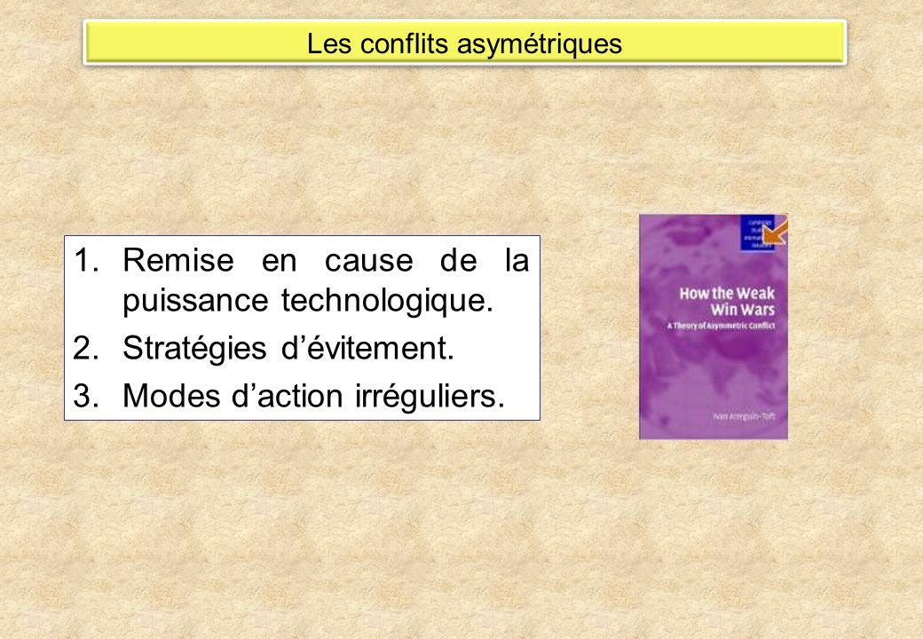 Les conflits asymétriques 1.Remise en cause de la puissance technologique. 2.Stratégies dévitement. 3.Modes daction irréguliers.