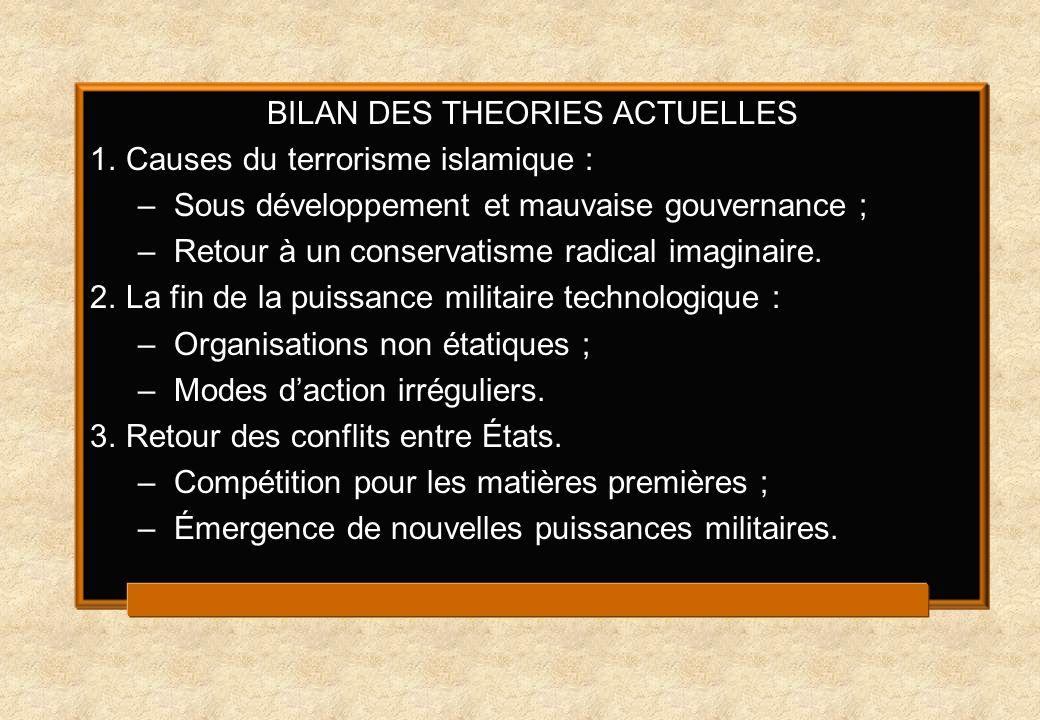 BILAN DES THEORIES ACTUELLES 1.Causes du terrorisme islamique : –Sous développement et mauvaise gouvernance ; –Retour à un conservatisme radical imaginaire.