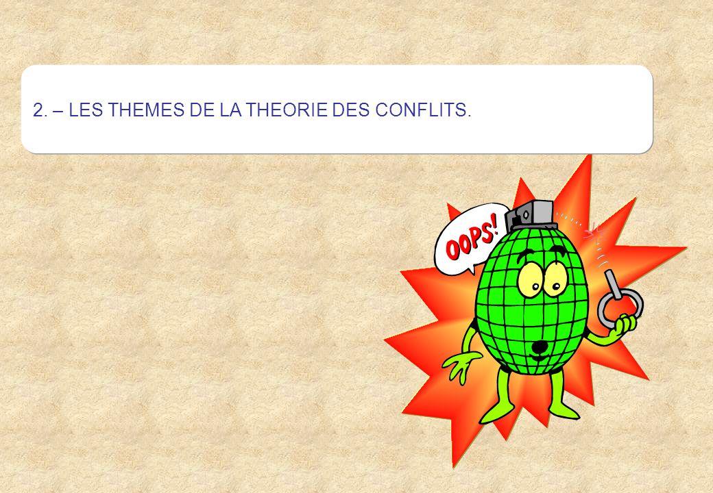 2. – LES THEMES DE LA THEORIE DES CONFLITS.