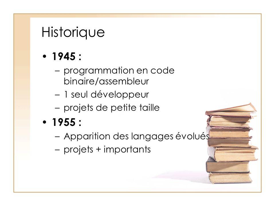 Historique 1945 : –programmation en code binaire/assembleur –1 seul développeur –projets de petite taille 1955 : –Apparition des langages évolués –projets + importants