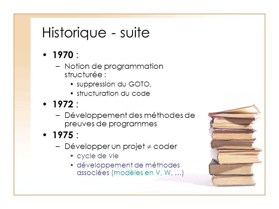 Historique - suite 1970 : –Notion de programmation structurée : suppression du GOTO, structuration du code 1972 : –Développement des méthodes de preuves de programmes 1975 : –Développer un projet coder cycle de vie développement de méthodes associées (modèles en V, W, …)