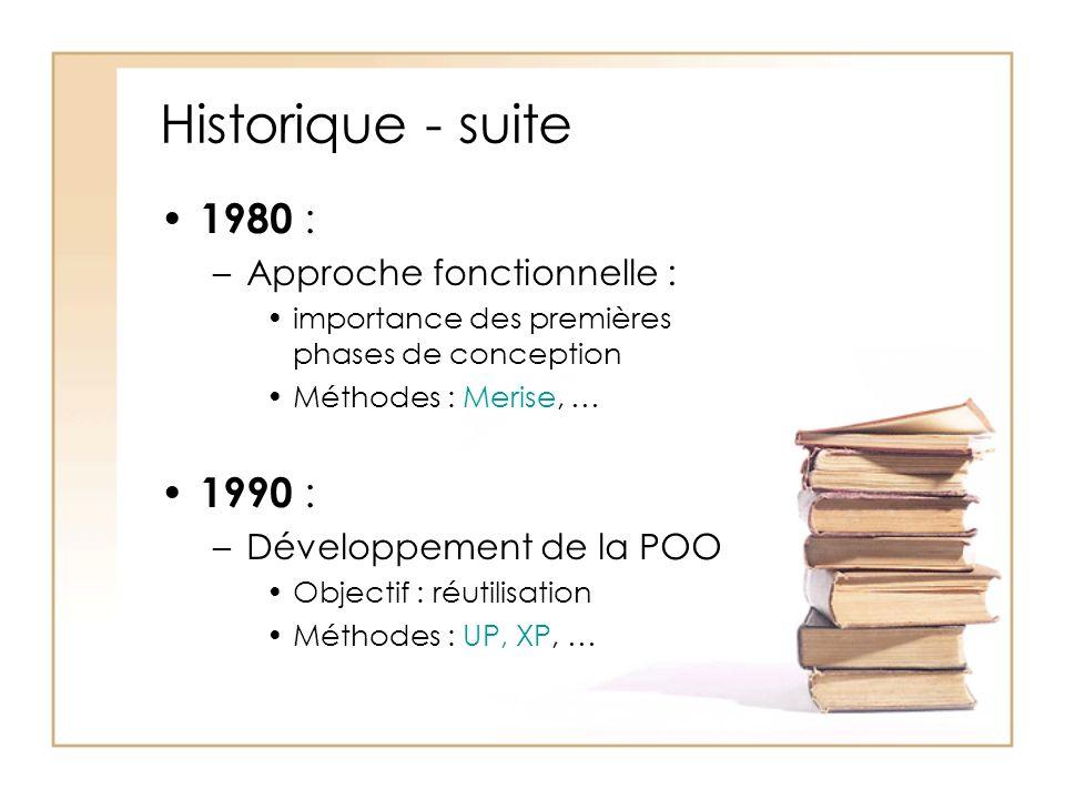 Historique - suite 1980 : –Approche fonctionnelle : importance des premières phases de conception Méthodes : Merise, … 1990 : –Développement de la POO Objectif : réutilisation Méthodes : UP, XP, …