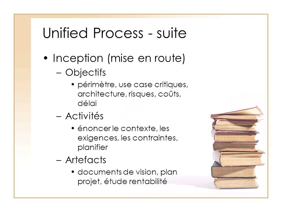 Unified Process - suite Inception (mise en route) –Objectifs périmètre, use case critiques, architecture, risques, coûts, délai –Activités énoncer le contexte, les exigences, les contraintes, planifier –Artefacts documents de vision, plan projet, étude rentabilité