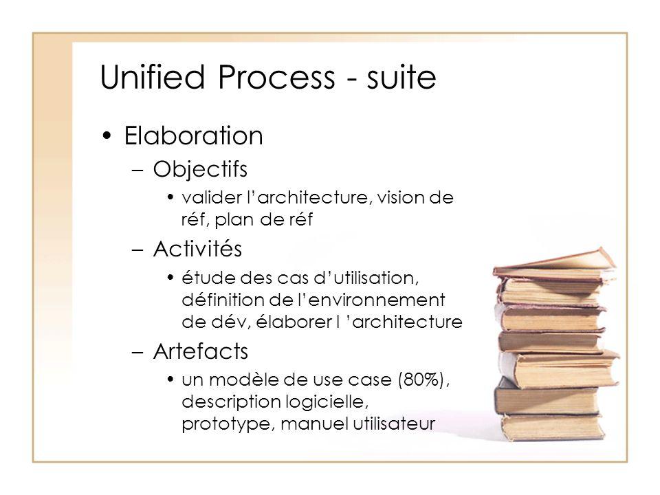 Unified Process - suite Elaboration –Objectifs valider larchitecture, vision de réf, plan de réf –Activités étude des cas dutilisation, définition de lenvironnement de dév, élaborer l architecture –Artefacts un modèle de use case (80%), description logicielle, prototype, manuel utilisateur
