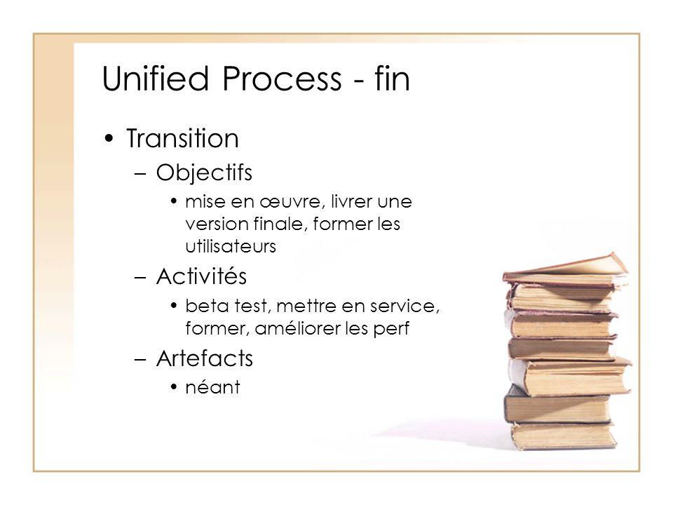 Unified Process - fin Transition –Objectifs mise en œuvre, livrer une version finale, former les utilisateurs –Activités beta test, mettre en service, former, améliorer les perf –Artefacts néant