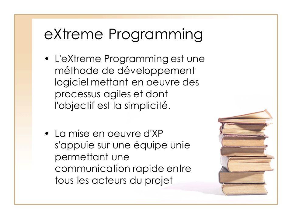 eXtreme Programming L eXtreme Programming est une méthode de développement logiciel mettant en oeuvre des processus agiles et dont l objectif est la simplicité.