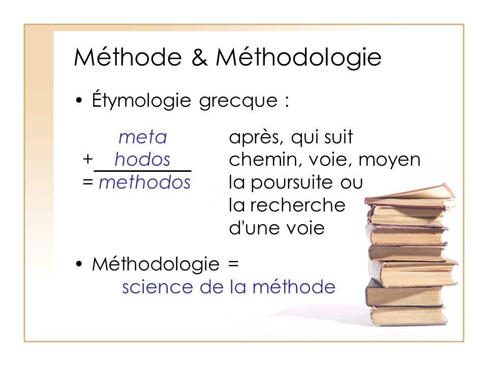 Méthode & Méthodologie Étymologie grecque : Méthodologie = science de la méthode metaaprès, qui suit + hodoschemin, voie, moyen = methodos la poursuite ou la recherche d une voie