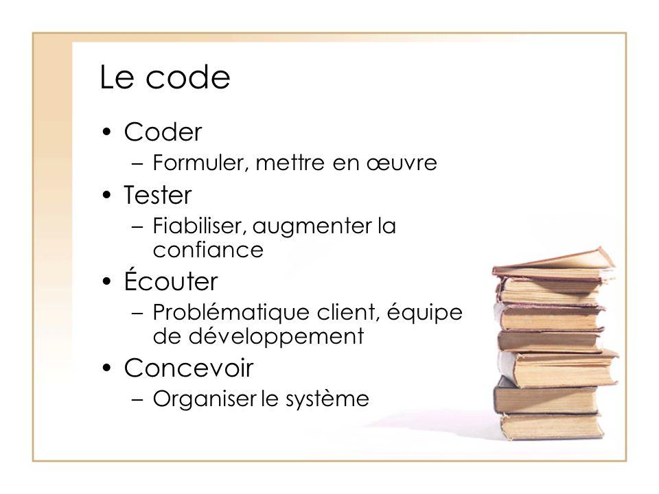 Le code Coder –Formuler, mettre en œuvre Tester –Fiabiliser, augmenter la confiance Écouter –Problématique client, équipe de développement Concevoir –Organiser le système