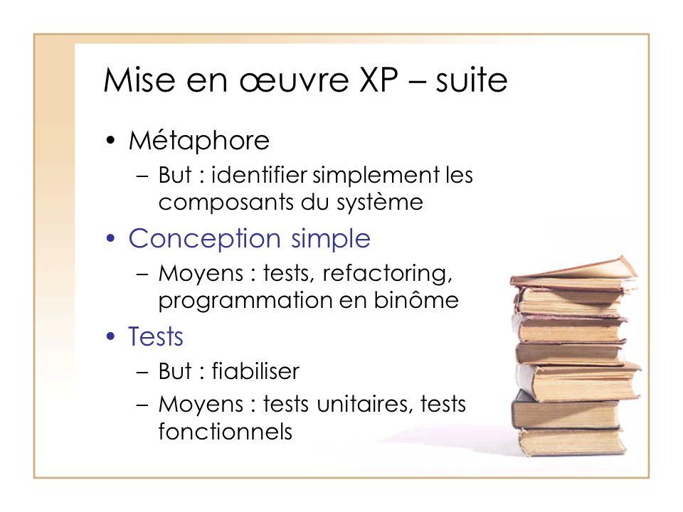 Mise en œuvre XP – suite Métaphore –But : identifier simplement les composants du système Conception simple –Moyens : tests, refactoring, programmation en binôme Tests –But : fiabiliser –Moyens : tests unitaires, tests fonctionnels