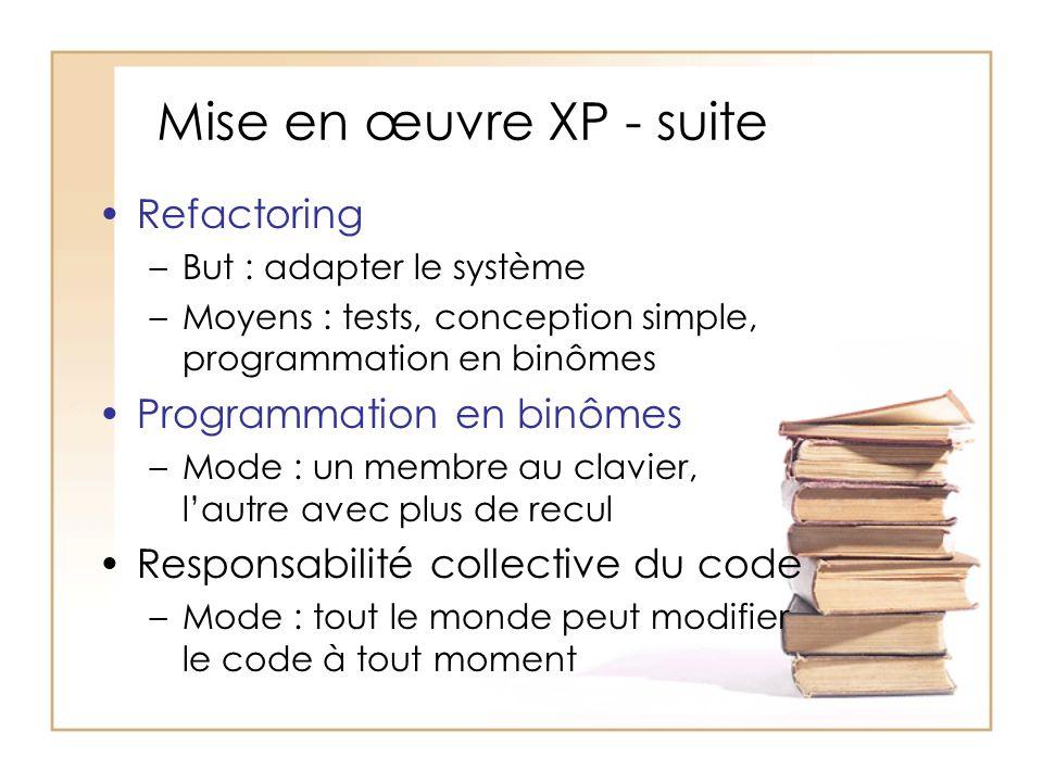Mise en œuvre XP - suite Refactoring –But : adapter le système –Moyens : tests, conception simple, programmation en binômes Programmation en binômes –Mode : un membre au clavier, lautre avec plus de recul Responsabilité collective du code –Mode : tout le monde peut modifier le code à tout moment