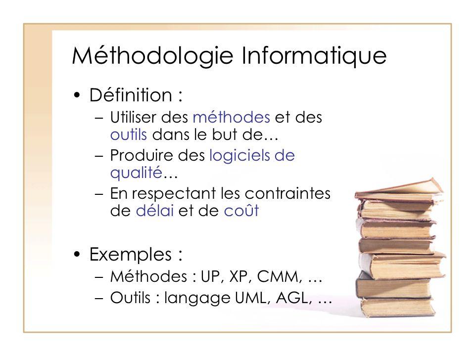Méthodologie Informatique Définition : –Utiliser des méthodes et des outils dans le but de… –Produire des logiciels de qualité… –En respectant les contraintes de délai et de coût Exemples : –Méthodes : UP, XP, CMM, … –Outils : langage UML, AGL, …