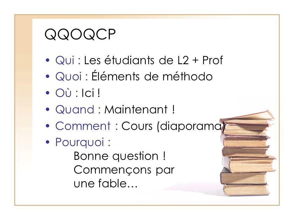 QQOQCP Qui : Les étudiants de L2 + Prof Quoi : Éléments de méthodo Où : Ici .