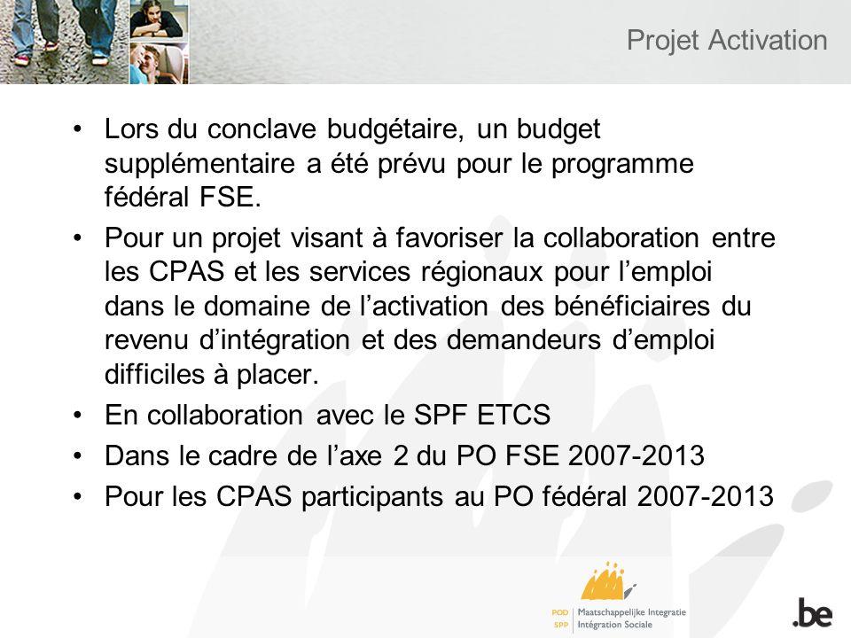 Projet Activation Lors du conclave budgétaire, un budget supplémentaire a été prévu pour le programme fédéral FSE.