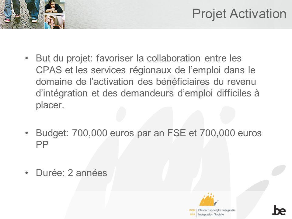 Projet Activation But du projet: favoriser la collaboration entre les CPAS et les services régionaux de lemploi dans le domaine de lactivation des bénéficiaires du revenu dintégration et des demandeurs demploi difficiles à placer.