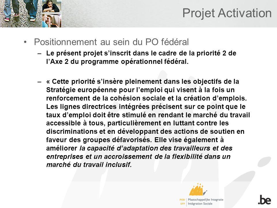 Projet Activation Positionnement au sein du PO fédéral –Le présent projet sinscrit dans le cadre de la priorité 2 de lAxe 2 du programme opérationnel fédéral.