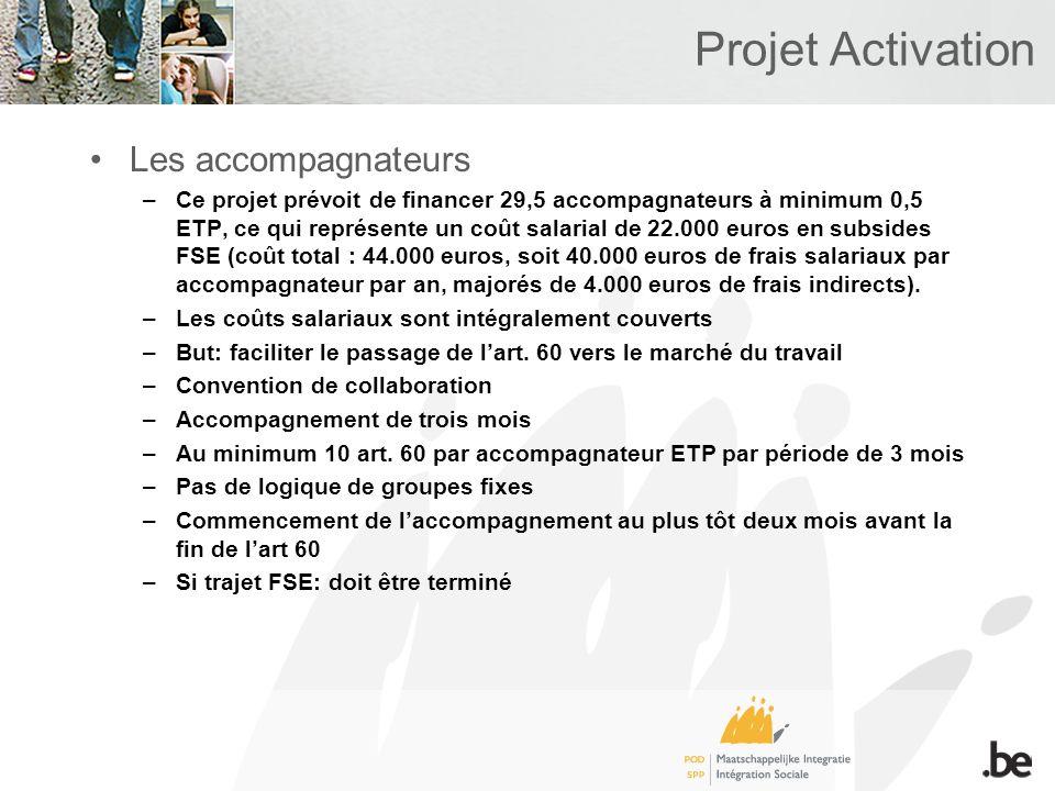 Projet Activation Les accompagnateurs –Ce projet prévoit de financer 29,5 accompagnateurs à minimum 0,5 ETP, ce qui représente un coût salarial de 22.000 euros en subsides FSE (coût total : 44.000 euros, soit 40.000 euros de frais salariaux par accompagnateur par an, majorés de 4.000 euros de frais indirects).