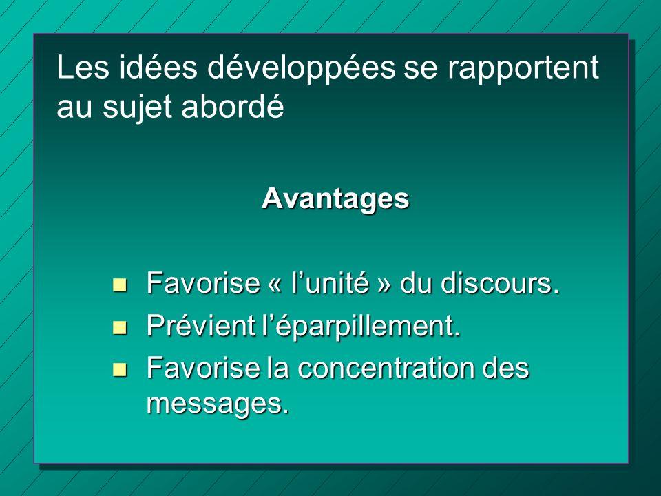 Les idées développées se rapportent au sujet abordé Avantages n Favorise « lunité » du discours. n Prévient léparpillement. n Favorise la concentratio