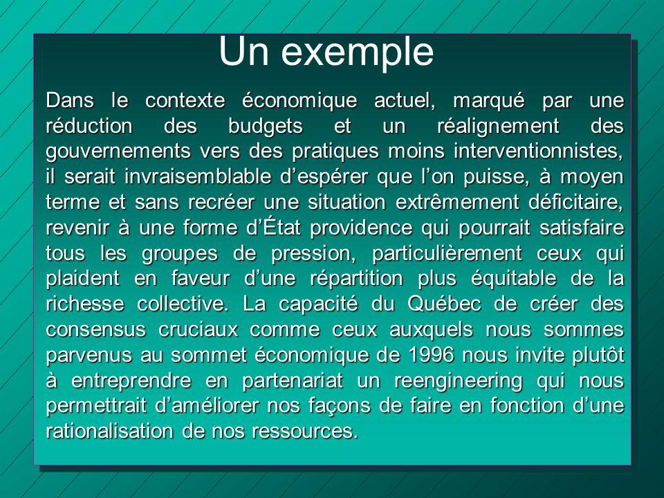 Un exemple Dans le contexte économique actuel, marqué par une réduction des budgets et un réalignement des gouvernements vers des pratiques moins inte