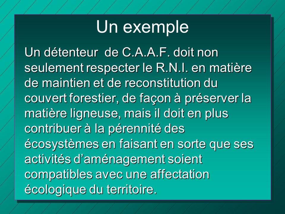 Un exemple Un détenteur de C.A.A.F. doit non seulement respecter le R.N.I. en matière de maintien et de reconstitution du couvert forestier, de façon