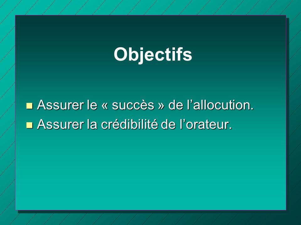 Objectifs n Assurer le « succès » de lallocution. n Assurer la crédibilité de lorateur.