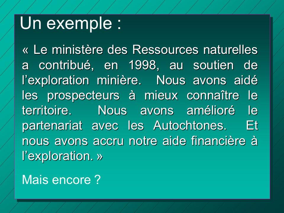 Un exemple : « Le ministère des Ressources naturelles a contribué, en 1998, au soutien de lexploration minière. Nous avons aidé les prospecteurs à mie
