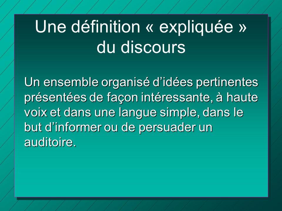 Une définition « expliquée » du discours Un ensemble organisé didées pertinentes présentées de façon intéressante, à haute voix et dans une langue sim