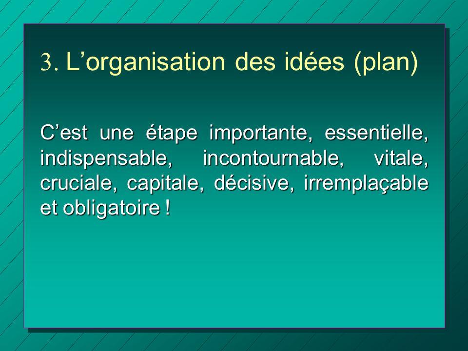 3. Lorganisation des idées (plan) Cest une étape importante, essentielle, indispensable, incontournable, vitale, cruciale, capitale, décisive, irrempl